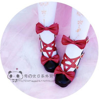 Original Lolita pentagram with bow Japanese princess Shoes Multicolor available A