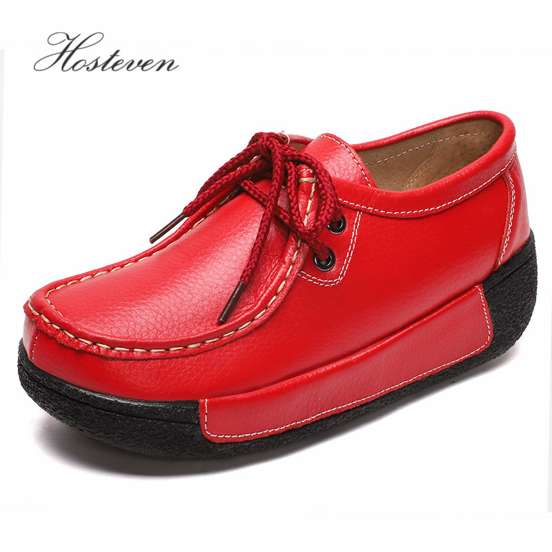 Hosteven Women Shoes Loafers Sneaker Genuine Leather Flats Moccasins Summer Autumn Winter Female Casual Ladies Plush Footware-in Women's Flats from Shoes