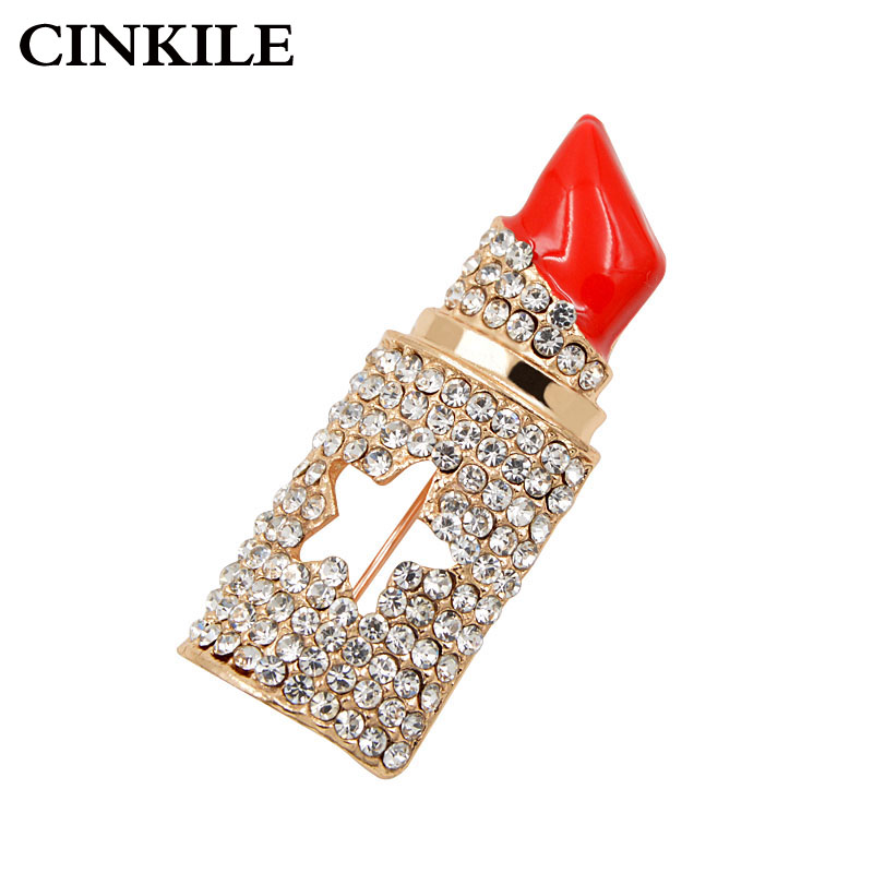 CINKILE Rhinestone Lipstick Brooches for Women Fashion Jewelry Elegant Statement Brooch Pins Personality Gift High Quality
