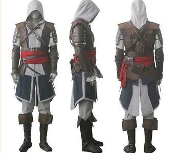 Trasporto libero di assassin's Creed IV 4 Black Flag Edward Kenway Cosplay Costume Intero Insieme Su ordine Espresso di Trasporto