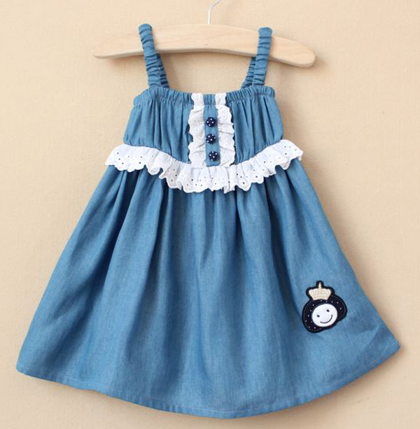 Free shipping korea style 5pcs/lot girl summer denim flexible strip dress with lace on the waist and buttons decor