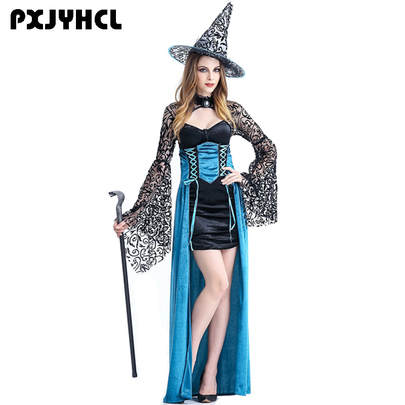 Deluxe Sorceress Witch Hat Magic Wizard Halloween Women/'s Fancy Dress Costume