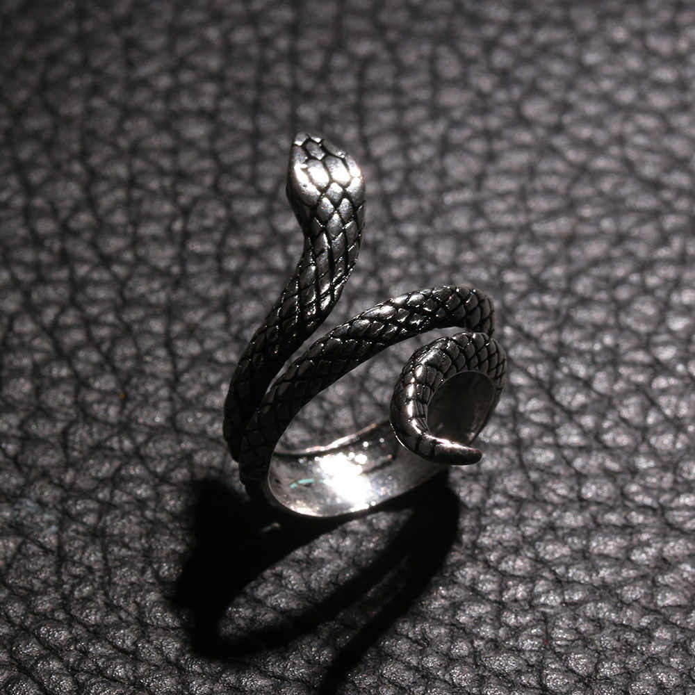 1 PC Size 7-10 Fashion Snake Rings For Women Plating Silver Heavy Metals Punk Rock Ring Vintage Animal Jewelry