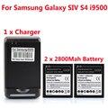 Alta qualidade 2x2800 mah substituição bateria para samsung s4 i9500 bateria + carregador de parede usb para samsung s4 siv i9500 telefone inteligente