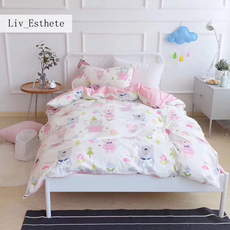 Liv_Esthete Cute Balloon Bear Children Cartoon Bedding Set Kid Duvet Cover Set 100% Cotton Bed Set With Flat sheet 3Pcs