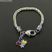 Puzzle d'autisme pour hommes et femmes, Bracelets avec pendentif coloré, cadeau de vacances, vente en gros, bijoux, livraison gratuite, 2017