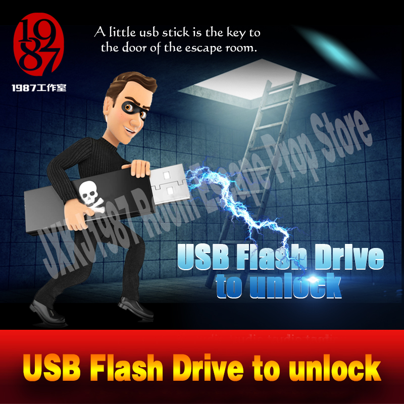 Room escape props real life adventurer game USB Flash Drive prop plug the usb disk U-disk to unlcok from JXKJ1987 chamber room