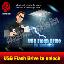Room escape props real life adventurer game USB Flash Drive prop plug the usb disk U disk to unlcok from JXKJ1987 chamber room