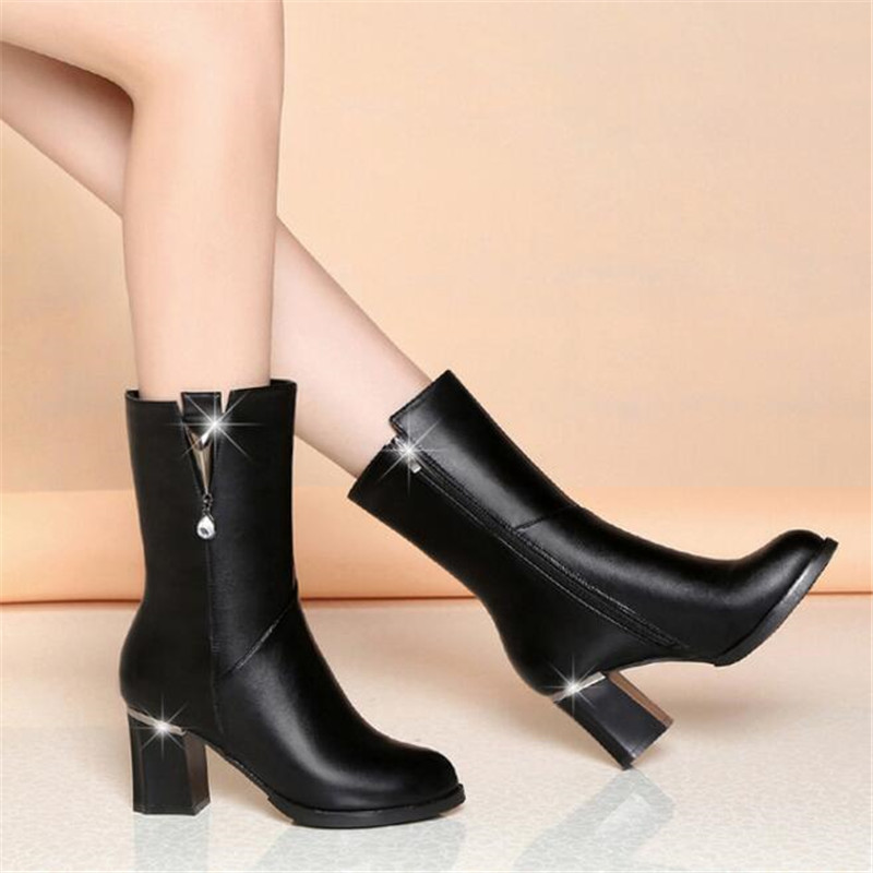 ELGEER Autumn and winter new tube plus velvet warm women 39 s boots women 39 s shoes high heeled casual Riding Equestrian boots in Mid Calf Boots from Shoes