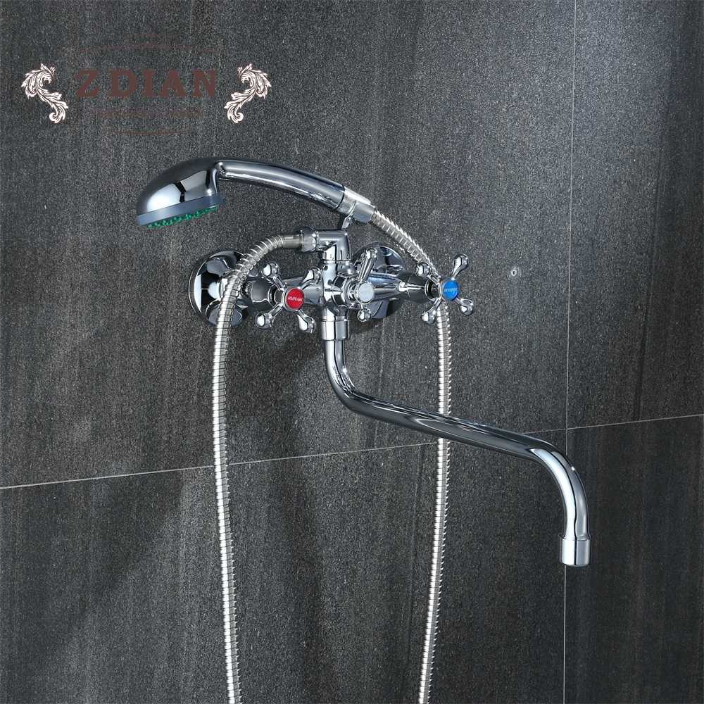 Russia free shipping Bathroom Shower Faucets Classic Chrome Plated Single Holder Long Nose Brass Bathroom Faucet Bath Mixer Tap