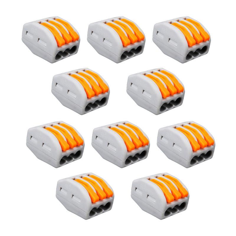 5PCs 3 Way Reusable Spring Lever Terminal Block Electric Cable Connector Wire