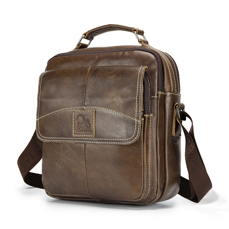 LAOSHIZI LUOSEN Oil Leather Men Shoulder Bag Crossbag Men's Genuine Leather Bag Male Casual Large Capacity Small Flap Handbag