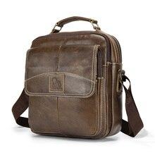 LAOSHIZI Oil Leather Shoulder Bag Crossbag Male Genuine Leather Bag Male Casual Large Capacity Small Flap Handbag