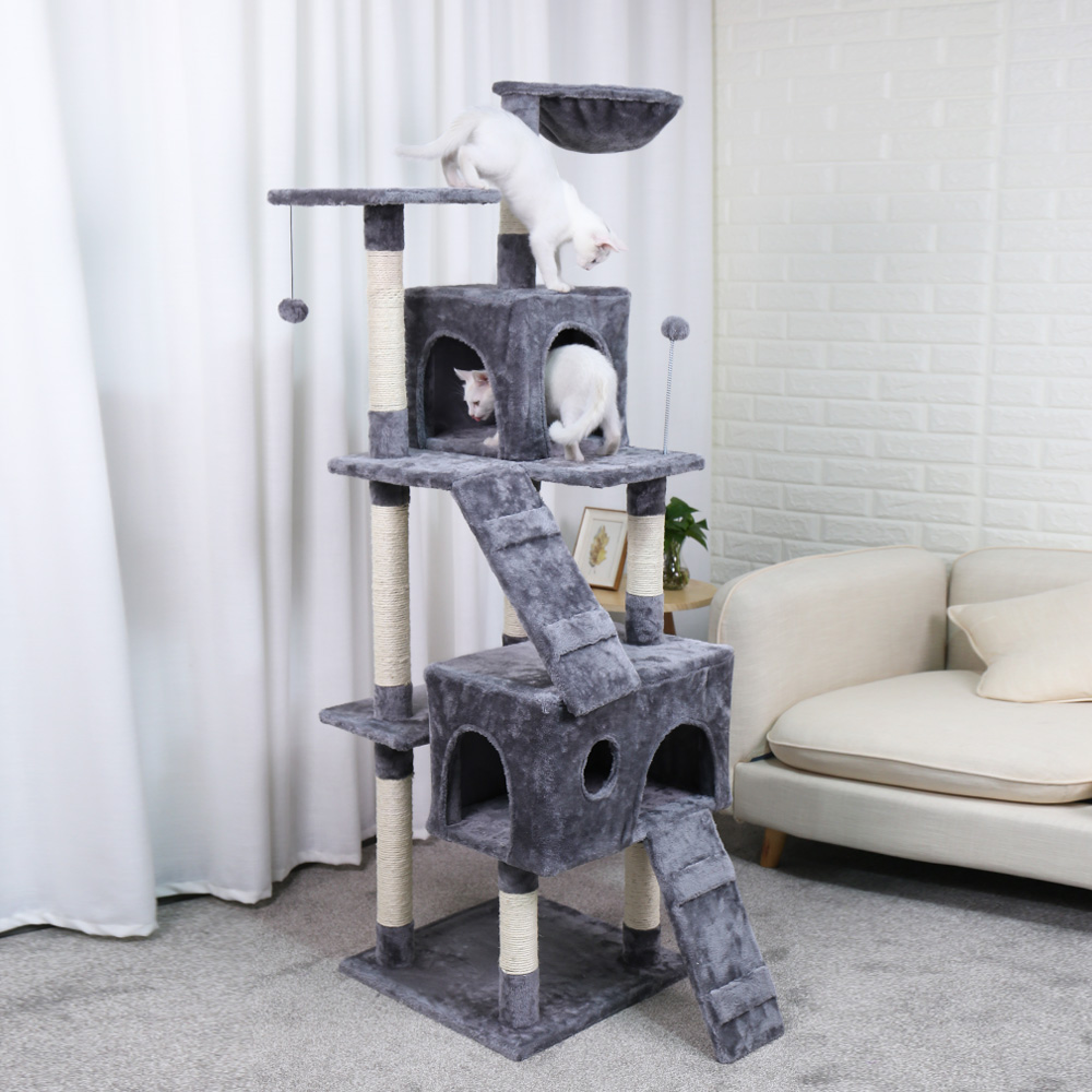 Domestic Shipping Pet Cats Tree House with Hanging Ball Cat Toy Furniture Scratch Solid Woods for