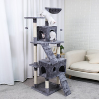 Domestic Shipping Pet Cats Tree House with Hanging Ball Cat Toy Furniture Scratch Solid Woods for Cats Climbing Frame Cat Condos