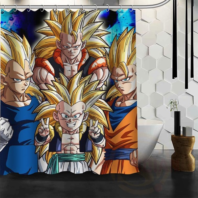 Best Nice Custom Dragon Ball Z Goku Shower Curtain Bath Waterproof Fabric For Bathroom MORE