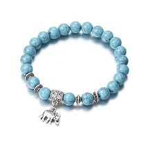 19.4cm Fashion Natural Stone Elephant Pendant Bead Bracelet Vintage Classic Acrylic Blue Imitation Beaded Bracelets M17