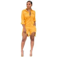 2019 Women Summer Slim Jeans Jumpsuit Lapel Pocket Shorts Casual Streetwear Tassel Denim Overalls