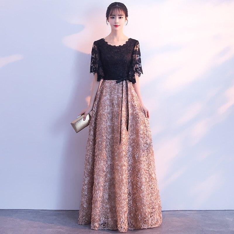 Mode une ligne longue Robe De soirée Robe De soirée dentelle élégante retour robes De Graduation formelle bal robes De soirée Vestido