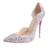 BC Schuhe schaffell Glitter Thin Heels Runde Zehe Slip-On Echtes Leder pumpen