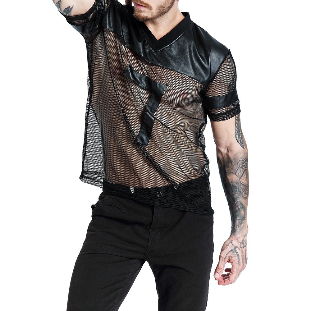 Sexy V-Neck Men Summer Short Sleeve Faux Leather Mesh See-through T-shirt Top
