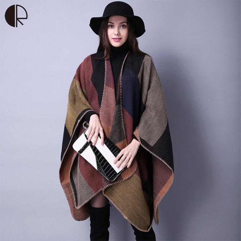18 Style Winter Scarf Luxury New Brand Women's Poncho Vintage Blanket Womens Lady Knit Shawl Cape Cashmere Pashmina AM262