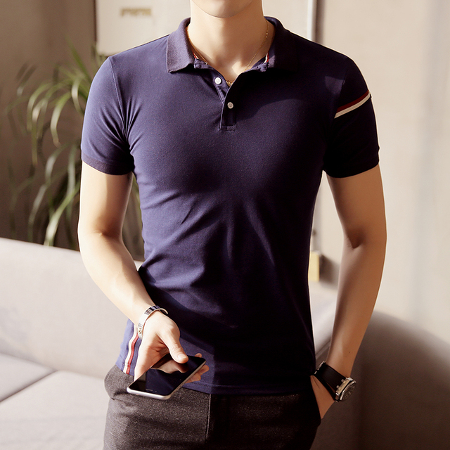 M-5xl Striped Navy White Short Sleeve Polo Shirt Men Business Casual Mens Polo Shirts Camisa Polo Masculino Polos Homme PA34