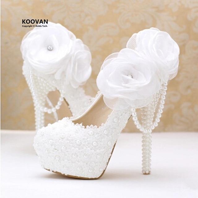 708ea12601ce8c Koovan Wedding Shoes 2017 fashion white pearl lace flowers high heel Women  shoes bridal shoes Women