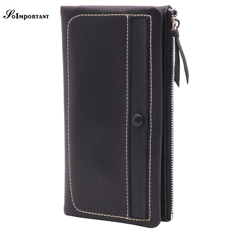 New Luxury Brand Genuine Cowhide Leather Men Wallets Portomonee Vintage Walet Male Wallet Men Long Clutch With Coin Purse Pocket