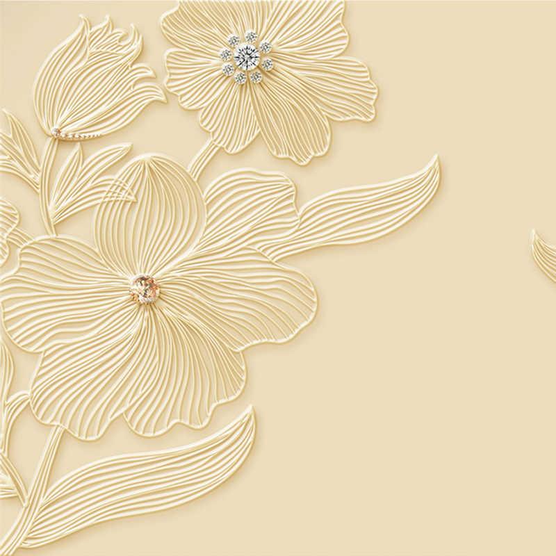 Nowoczesny diamentowy kwiat biżuteria tło tkanina ścienna tapeta tv do salonu Sofa 3D Relief Wallcloth Home Decor pokrycia ścienne