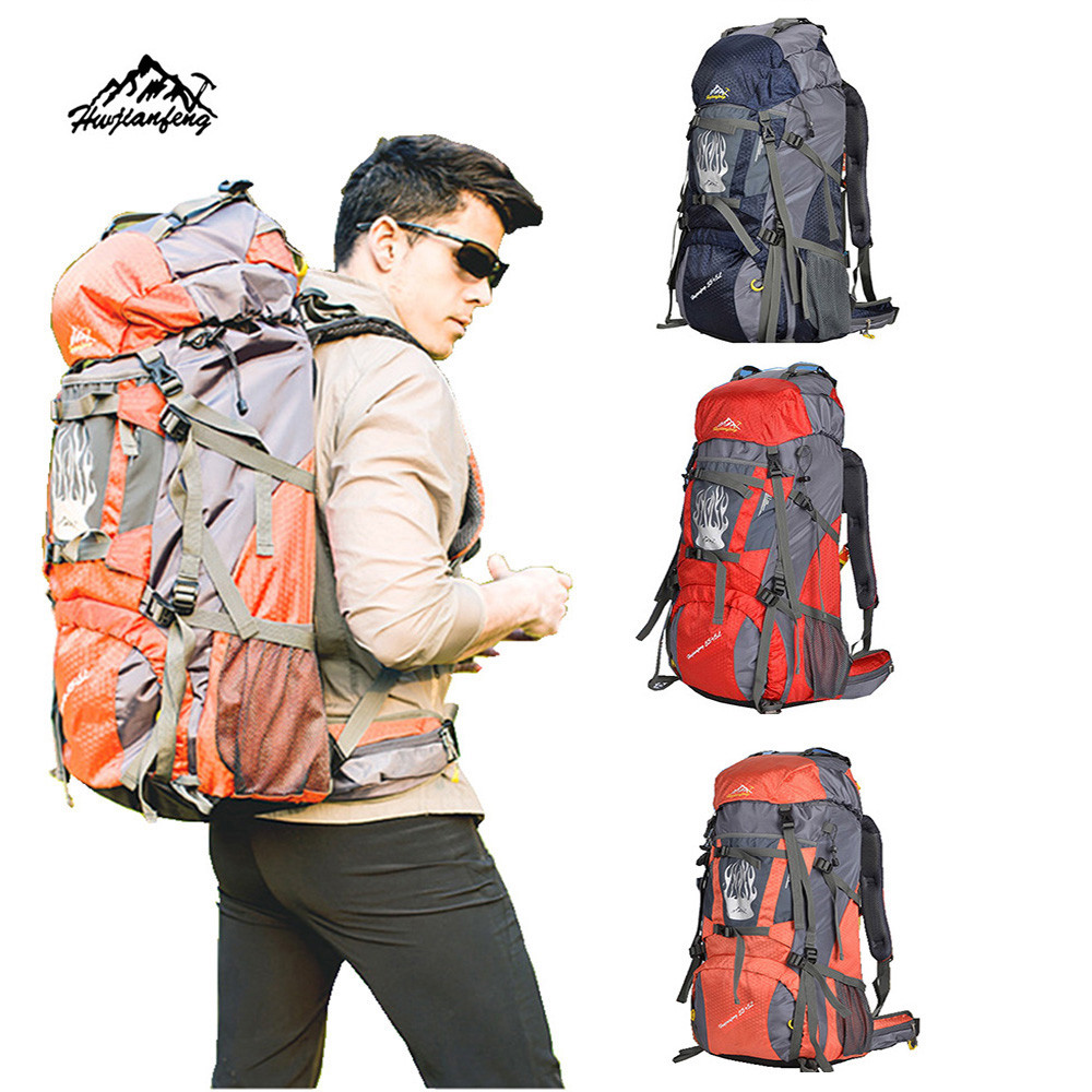 ФОТО Men&Woman Zipper Solid Camping Travel Rucksack Waterproof Mountaineering maximum comfort shoulder Outdoor Backpack Hiking Bag