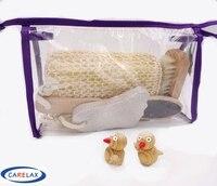 4 Pcs Bath Set Body Care Bathroom Accessories Foot File Sisal Sponge Bath Brush Bath Bag