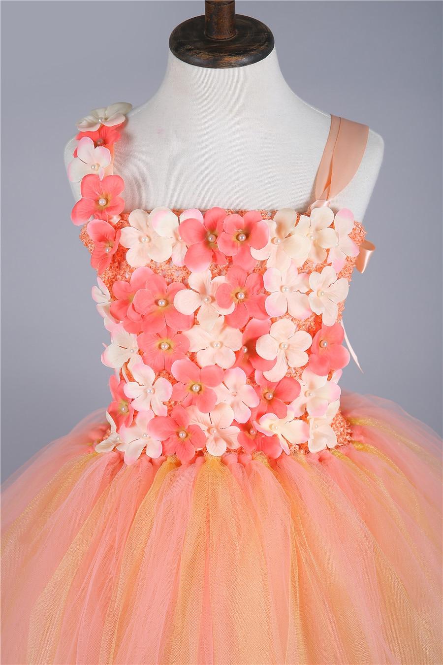 Princess tutu pfirsich gold mädchen kleid tüll kinder pageant ...