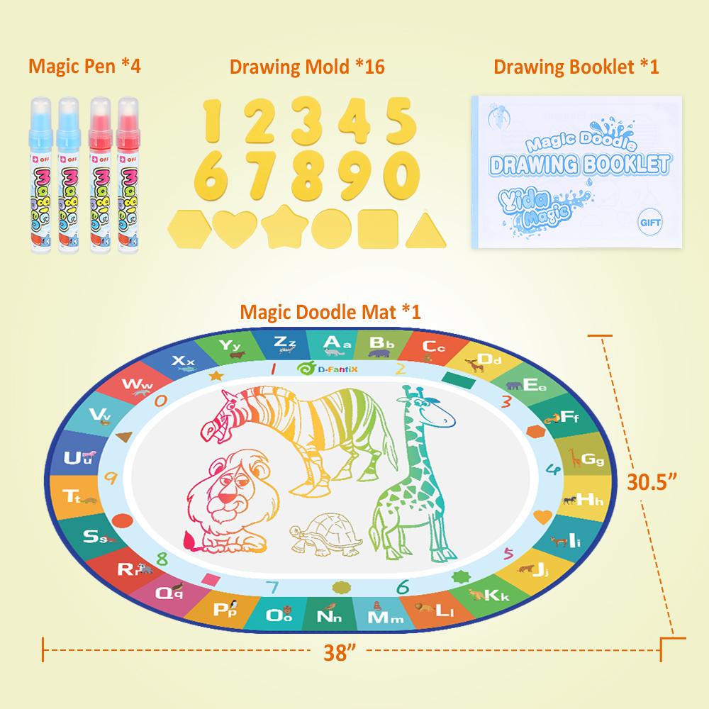 Kids Water Drawing Doodle Mat Writing Board Put the Water into the Pen /& Write