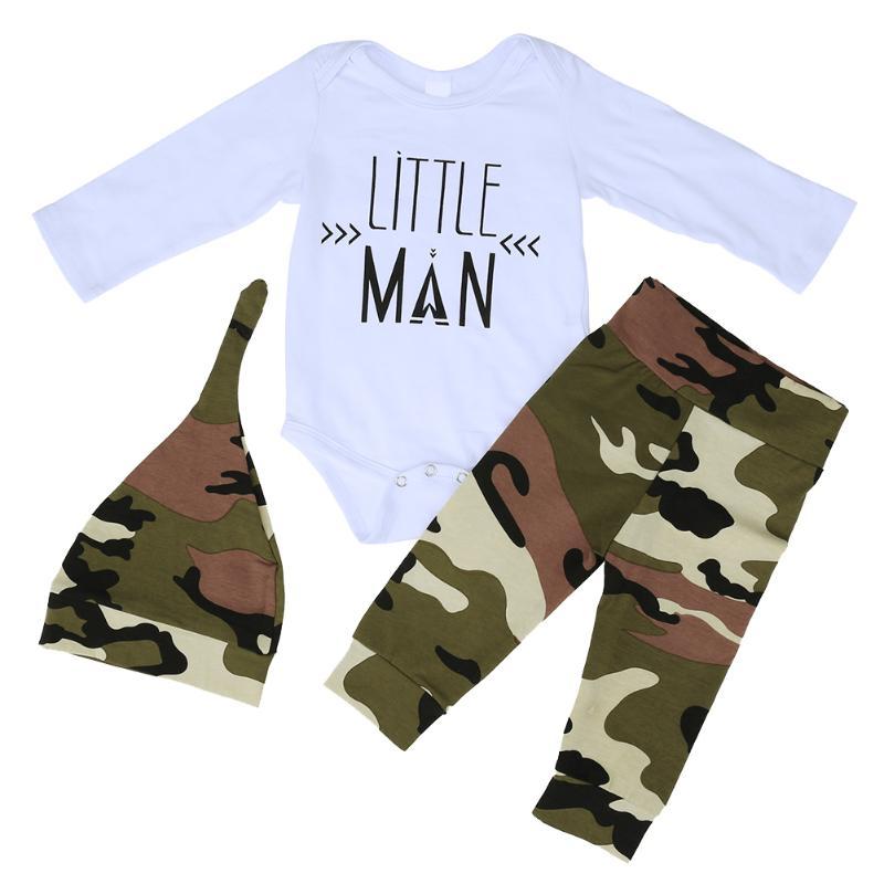 Newborn Baby Clothes Set Long Sleeve Letter Print Romper+Pants+Hat 3pcs/set Fashion Autumn Baby Boys Girls Clothes