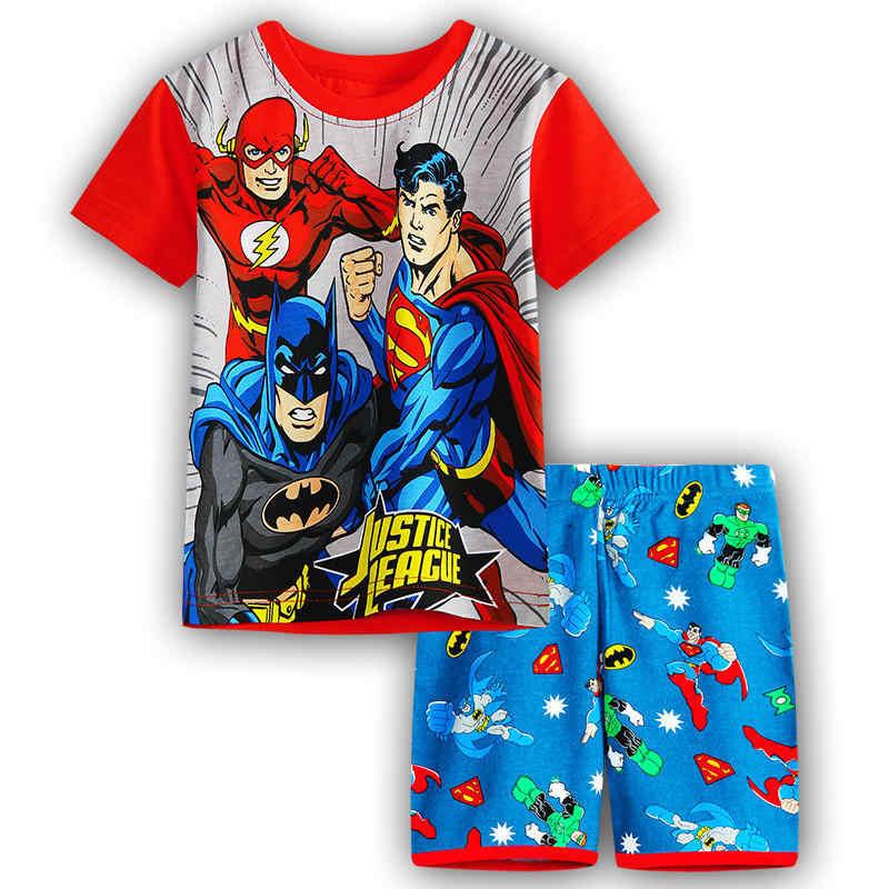 Minecraft Повседневное мультфильм хлопок супер герой Супермен Детская  наборы футболки для мальчиков короткие штаны детские Костюмы cb8e152dfe53d