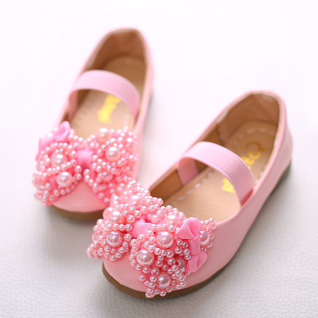 qloblo Kids Girls Children Leather Shoes Princess Sandals Wedding Shoes High quality Dress Shoes Party Shoes Pink white
