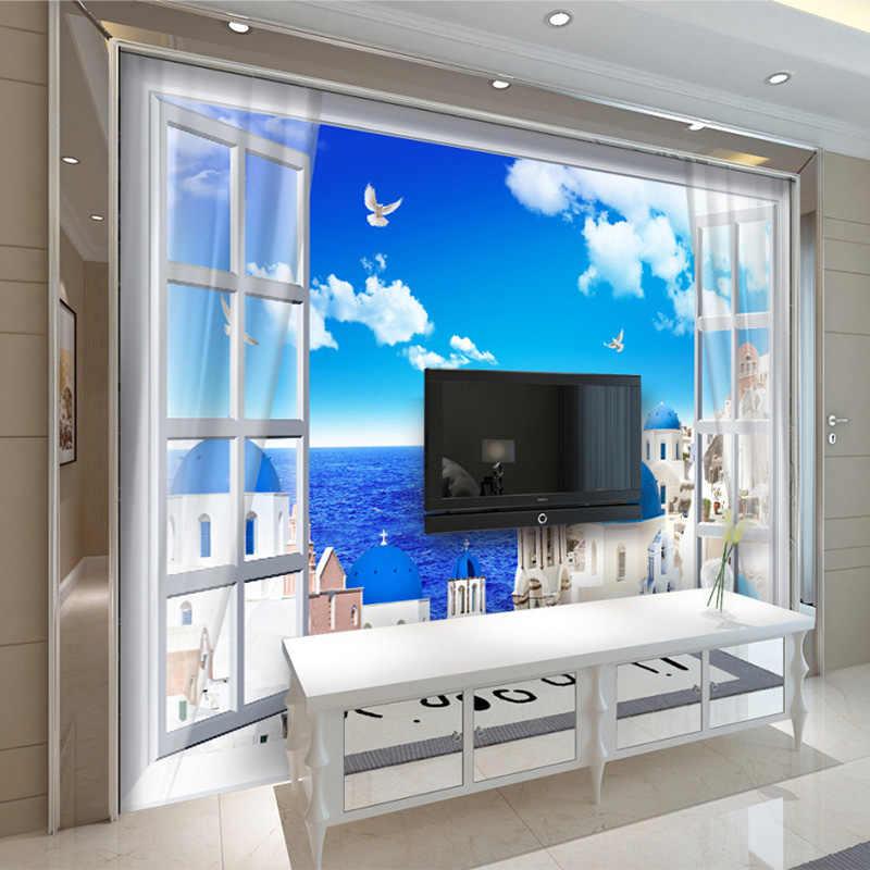 Personalizado 3D Castelo de Estilo Mediterrâneo Papel De Parede Rolo Mural papel de Parede Para Paredes 3D Sala TV Sofá Fundo Papel De Parede Em Casa decoração