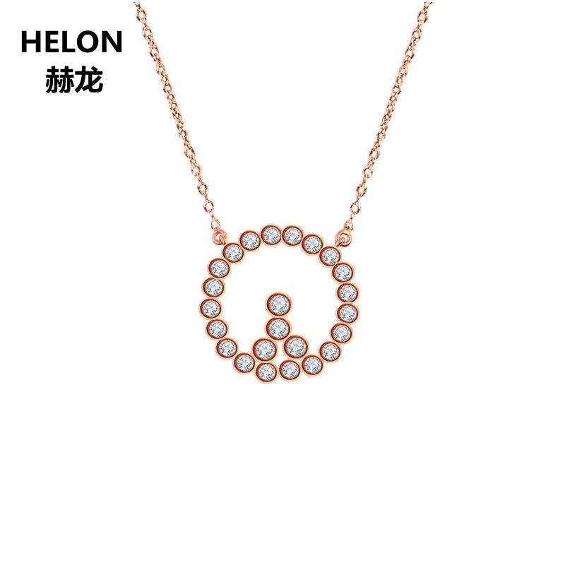Solid 18k Rose Gold Natural Diamonds Pendant Necklace Women Engagement Wedding Diamonds Pendant Valentine Birthday Jewelry GiftSolid 18k Rose Gold Natural Diamonds Pendant Necklace Women Engagement Wedding Diamonds Pendant Valentine Birthday Jewelry Gift