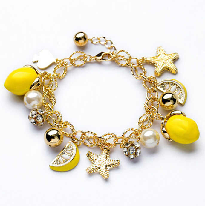 2018 New Arrival Korean Fashion Starfish Pendant Lemon Fruit Ol Style Bracelet Women Bracelets & Bangles