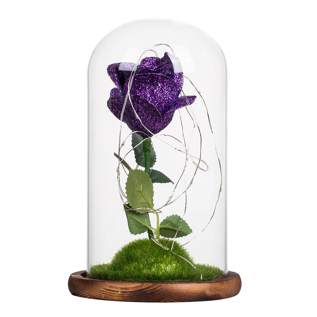 Blackout Romantic Glass Rose Clear Pine Wood Wedding Decoration Home Furnishing Holiday Gifts 19Jan23 P33