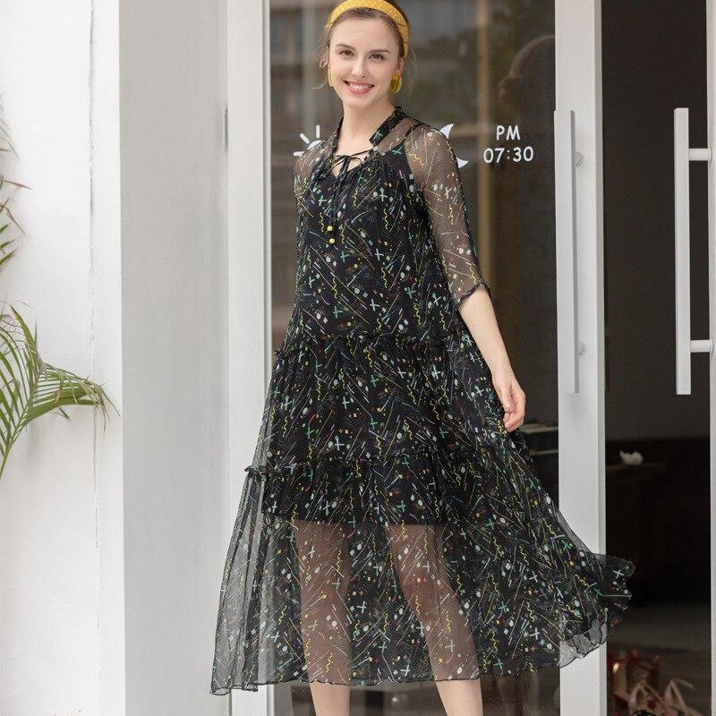 Шелк плюс размеры летнее платье рокабилли для женщин пикантные Клубные Ретро Пляж boho праздничные платья 2019 черный книги по искусству принт