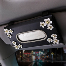 Cute Flower Crystal Leather Car Sun Visor Tissue Box Cover Rhinestone Paper Holder Sunshade Napkin Haning For Auto Accessories