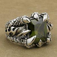 USA Rozmiar 8 ~ 13 Ogromne 925 Sterling Silver Pazur Smoka Czarnych Oliwek CZ Kamień Mężczyzna Biker Rocker Punk Pierścień 8T202