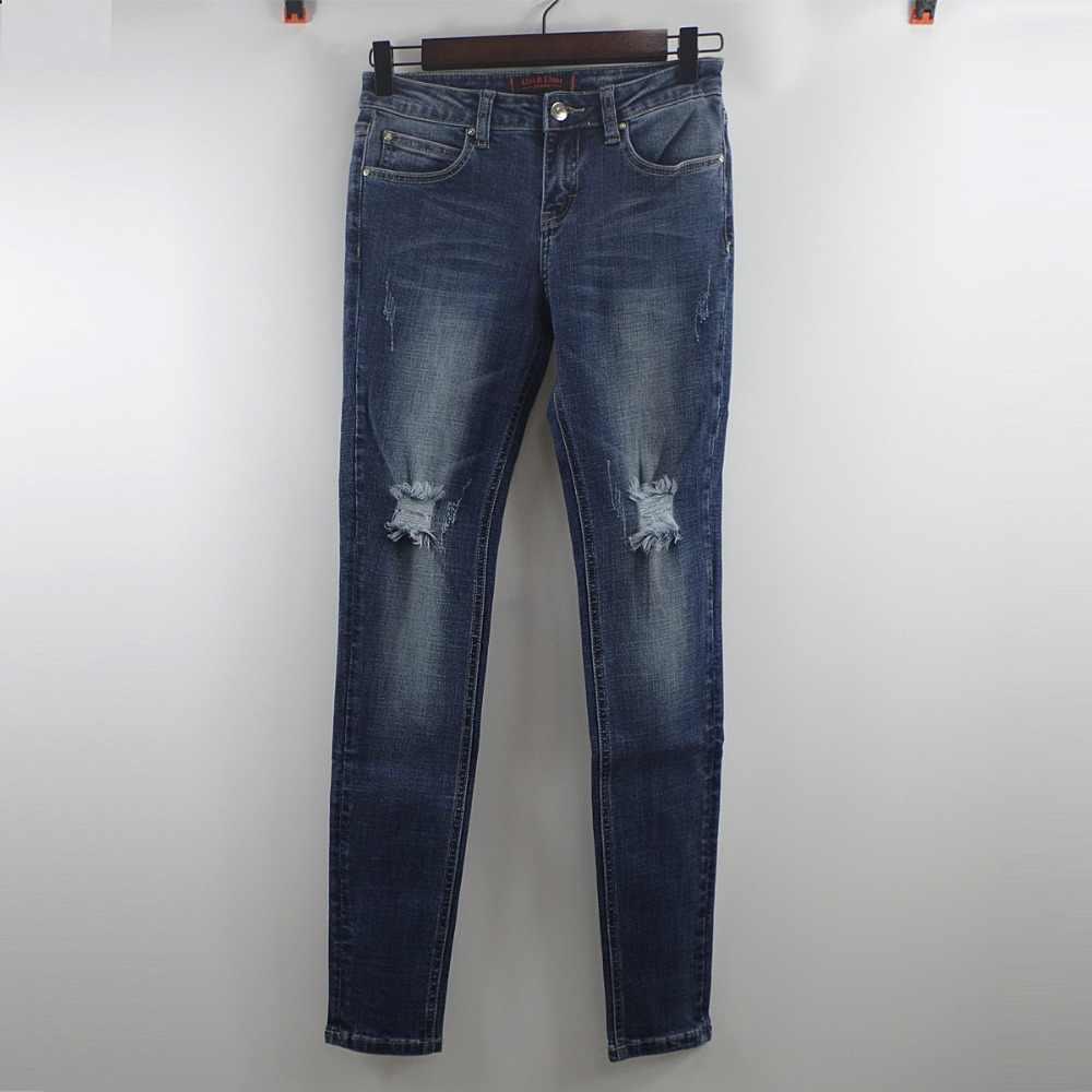 Alice & Elmer frauen jeans gerade Für Mädchen Mid Taille Stretch Weibliche Jeans Hosen Zerrissen jeans für frauen