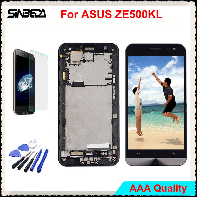 Sinbeda AAAAA LCD Display For ASUS Zenfone 2 Laser ZE500KL Touch Screen with Frame Digitizer Assembly For ZE500KL 5.0 LCD Tela