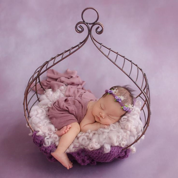 New Newborn Photography Props Wrought Iron Basket Newborn Unisex Boy Girl Baby Photography Shooting Props (only The Basket )