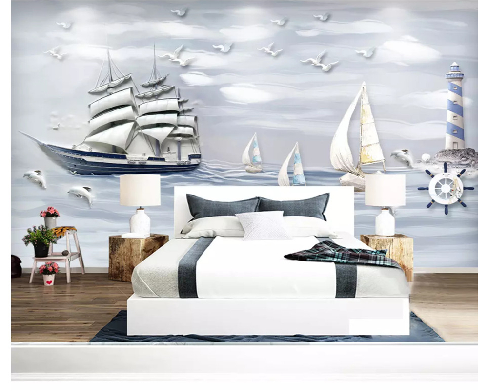 Купить с кэшбэком beibehang Modern wallpaper embossed three-dimensional nautical sailing 3D bedroom living room background wall papers home decor