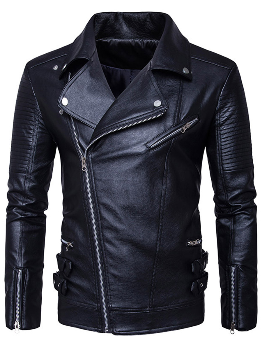 Wildgeeker Mens Jacket 2017 Punk Style Motorcycle Leather Jackets Male Business Casual...