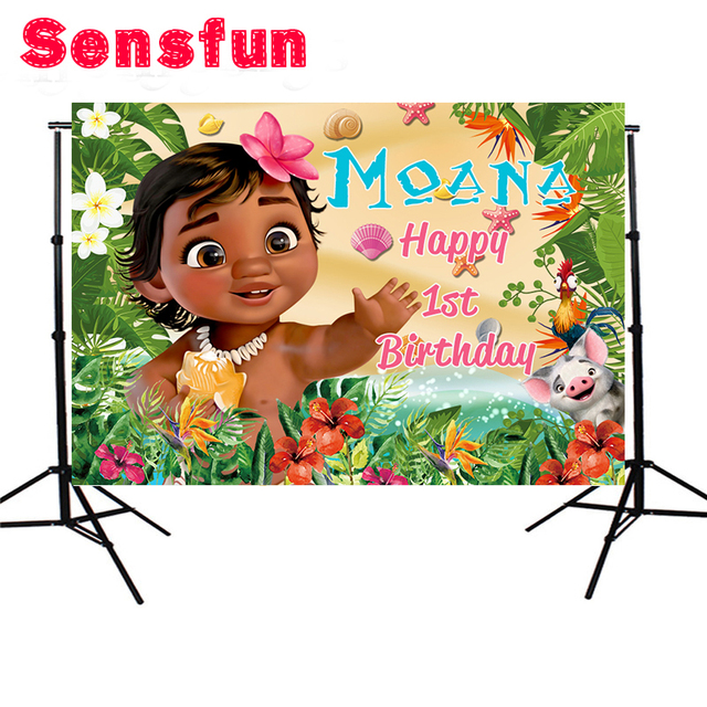 Vinyl Baby Moana Backdrops Flower First Birthday Party Vaiana Custom Photo Studio Background Photography Backdrop 5x3ft